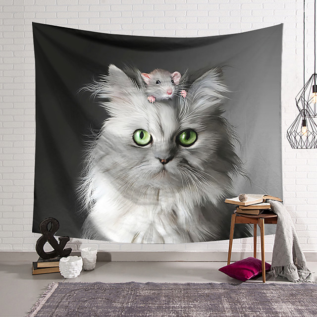 Wall Tapestry Art Decor Blanket Curtain Hanging Home Bedroom Living Room Decoration Cute White Cat