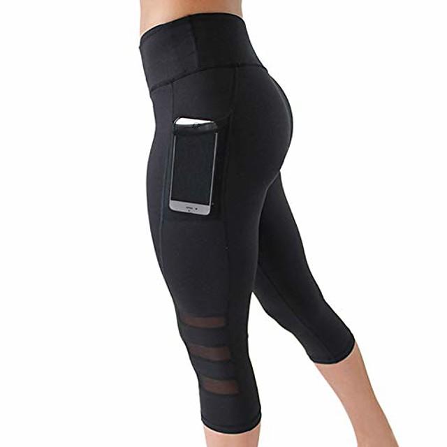 3/4 sportsbukser til kvinder yoga bukser kører fitness joggingbukser træningstights med mobiltelefon etui S-XXL - sort - m