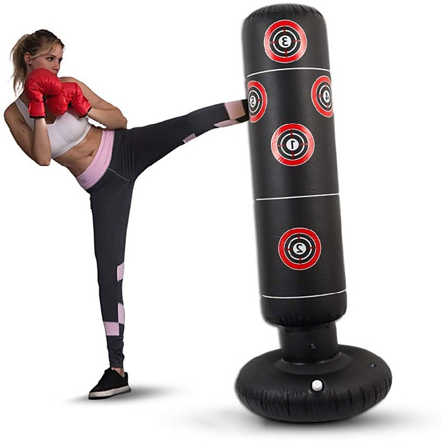 Inflatable Boxing Punching Bag for Kung Fu Martial Arts MMA Grappling Kickboxing Freestanding Flexible Empty Heavy Duty Relieves Stress Strength Training Crossfit Black