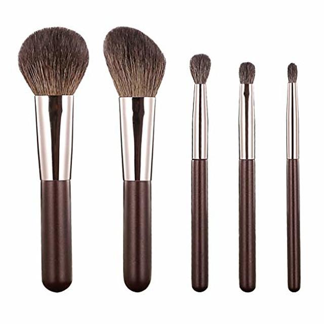 Makeup Brush Set 5 Mini Portable Travel Blush Highlight Powder Eye Shadow Full Set for Beginners (Color : Brown)