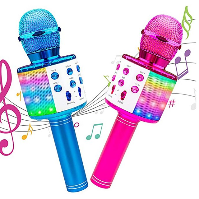 Karaoke Wireless Microphone Portable Karaoke Machine Bluetooth with LED Light Android / iPhone Compatible Plastics Boys and Girls Kids Adults 2 pcs Graduation Gifts Toy Gift