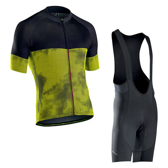 Men's Short Sleeve Cycling Jersey with Bib Shorts Elastane Green / Black Bike Sports Clothing Apparel