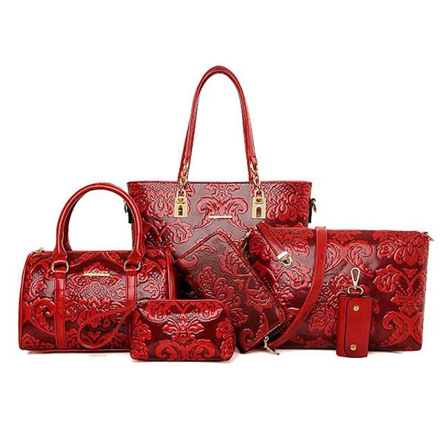 kvinder 6 stk reteo vintage præget tasker i etnisk stil