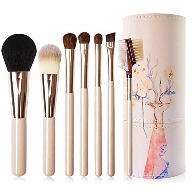 Travel Makeup Brush Set, 7 Support Professional Foundation Brush Eyeshadow Brush Eyebrow Brush Blush Brush with Other Makeup Brush-Barrel