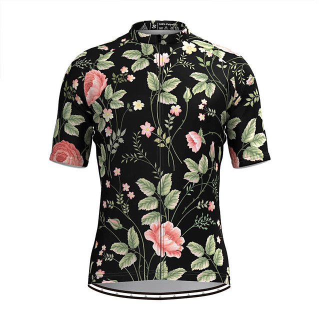Men's Short Sleeve Cycling Jersey Black Floral Botanical Bike Top Mountain Bike MTB Road Bike Cycling Breathable Sports Clothing Apparel / Stretchy / Athletic