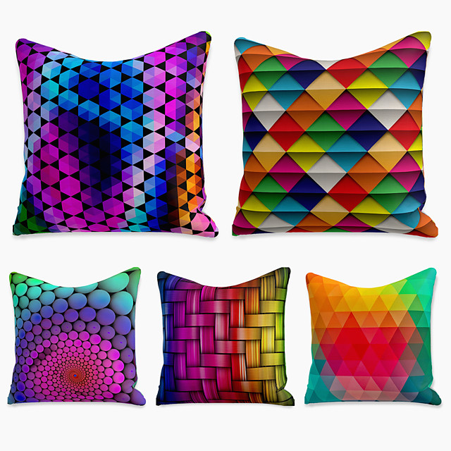 5 pcs Linen Pillow Cover, Print Simple Casual Square Polyester Traditional Classic