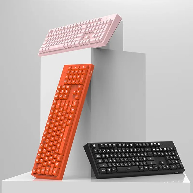 AJAZZ DKS100 104 keys USB Wired Monochromatic Light Gaming Keyboard for Desktop PC Computer Laptops