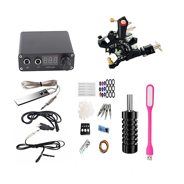 professional complete tattoo kit 1 top machine gun 5 needles power supply with tattoo led light