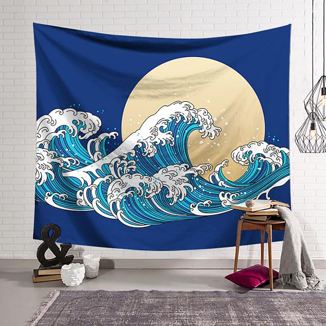Kanagawa Wave Ukiyo-E Wall Tapestry Art Decor Blanket Curtain Hanging Home Bedroom Living Room Decoration Japanese Painting Style Sea Ocean Wave Moon