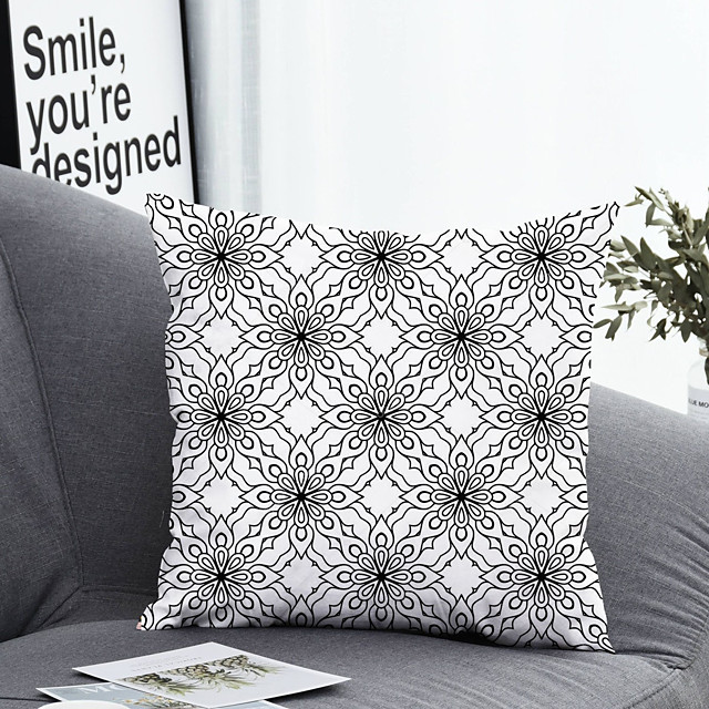 1 pcs Polyester Pillow Cover & Insert, Floral&Plants Simple Classic Square Zipper Polyester Traditional Classic