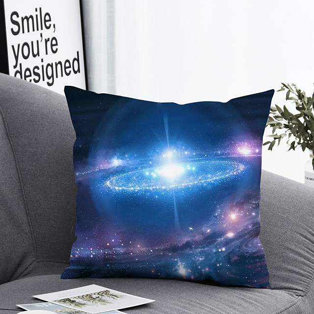 1 pcs Polyester Pillow Cover & Insert, Print Simple Classic Square Zipper Polyester Traditional Classic