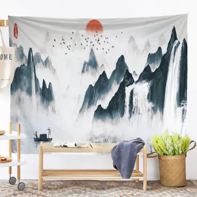 Chinese Ink Painting Style Wall Tapestry Art Decor Blanket Curtain Hanging Home Bedroom Living Room Decoration Landscape River Mountain Crane Sun