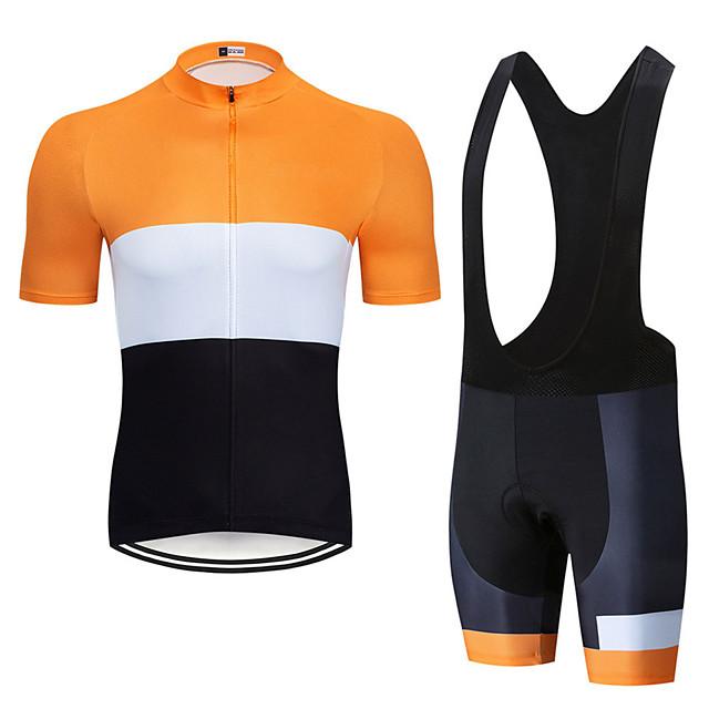 Men's Short Sleeve Cycling Jersey with Bib Shorts Elastane Orange+White Bike Sports Clothing Apparel