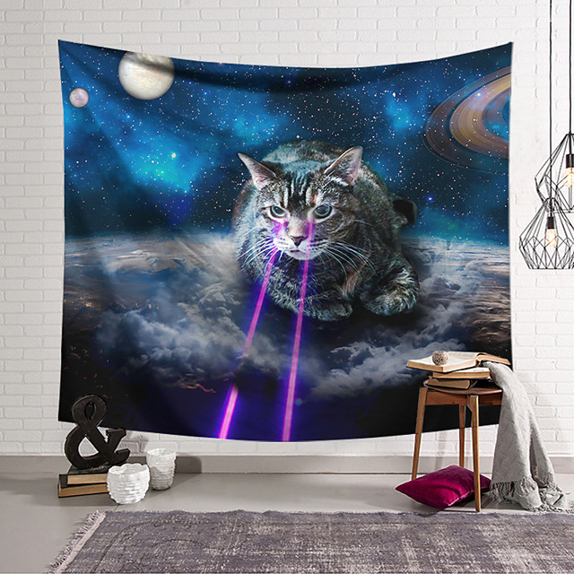 Wall Tapestry Art Decor Blanket Curtain Hanging Home Bedroom Living Room Decoration Polyester Laser on Cat Eyes