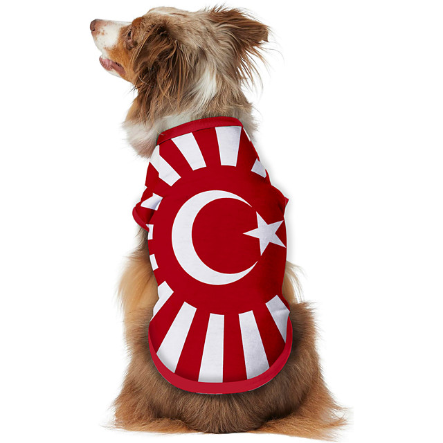 Dog Shirt / T-Shirt Vest Print Flag National Flag Fashion Cool Casual / Daily Outdoor Dog Clothes Puppy Clothes Dog Outfits Breathable Red Costume for Girl and Boy Dog Polyster S M L XL