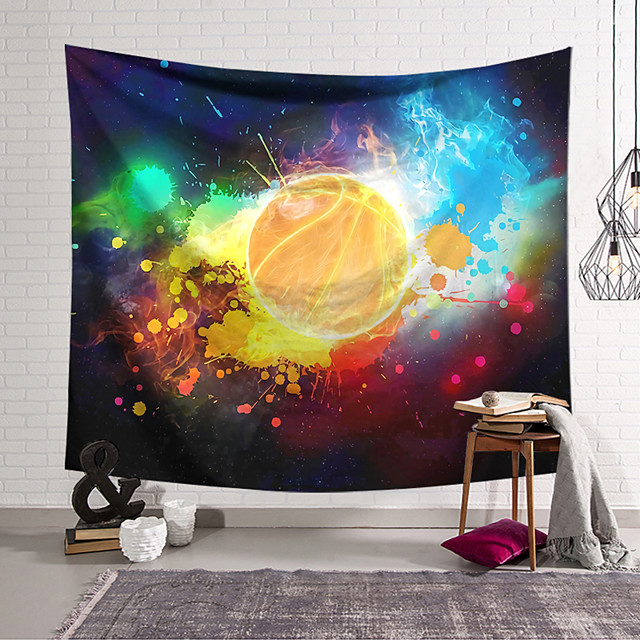 wall tapestry art decor blanket curtain hanging home bedroom living room decoration basketball flame polyester