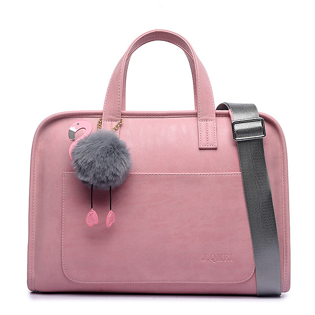 Women's Bags PU Leather Laptop Bag Briefcase Zipper Office Career Handbags Rose pink