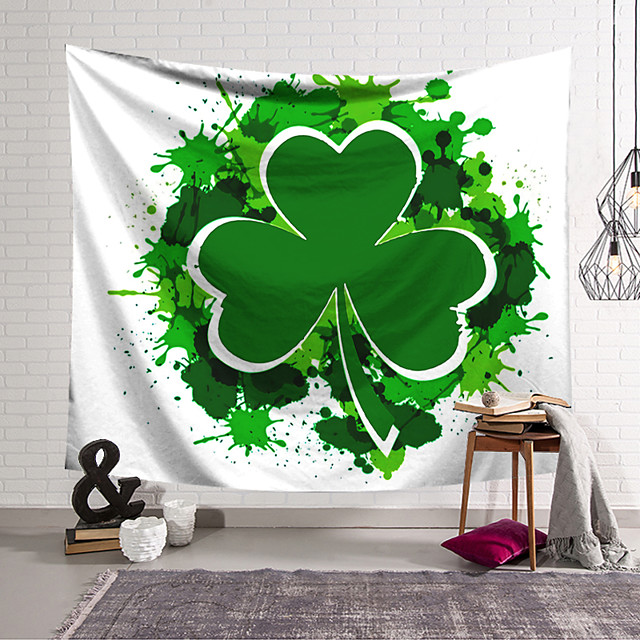 Saint Patrick's Day Wall Tapestry Art Decor Blanket Curtain Hanging Home Bedroom Living Room Decoration Polyester Shamrock Lucky