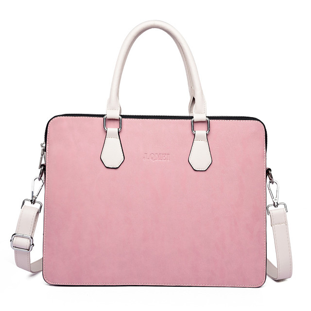 Men's PU Laptop Bag Zipper Solid Color Daily Office & Career Pink Gray