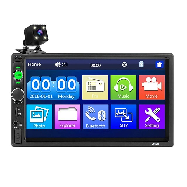 Oukoo 7010B 7 Inch Car MP5 Player Stereo Radio 2DIN FM USB AUX HD bluetooth Touch Screen with Backup Camera