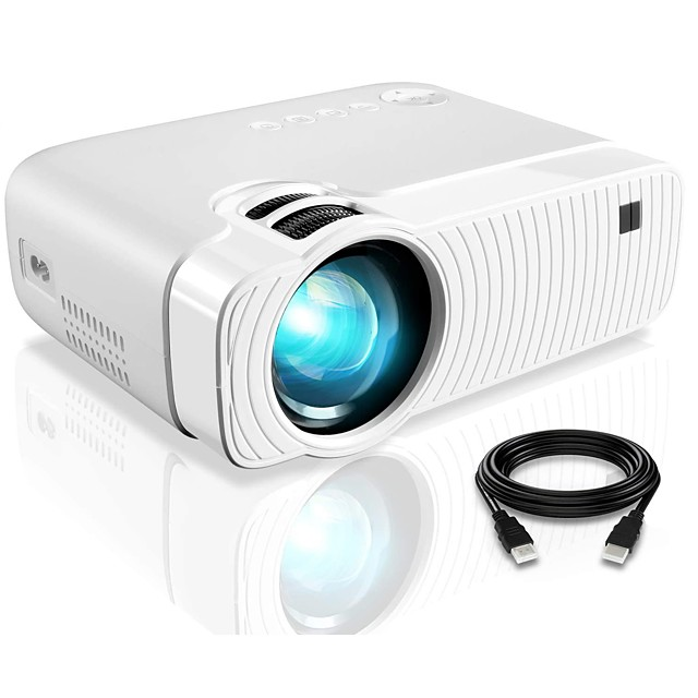 Projector YJ333 Portable Projector with Full HD 1080p 180 Display and 50000 Hours Lamp Life LED Video Projector Compatible with USB/HDMI/SD/AV/VGA for Home Theater