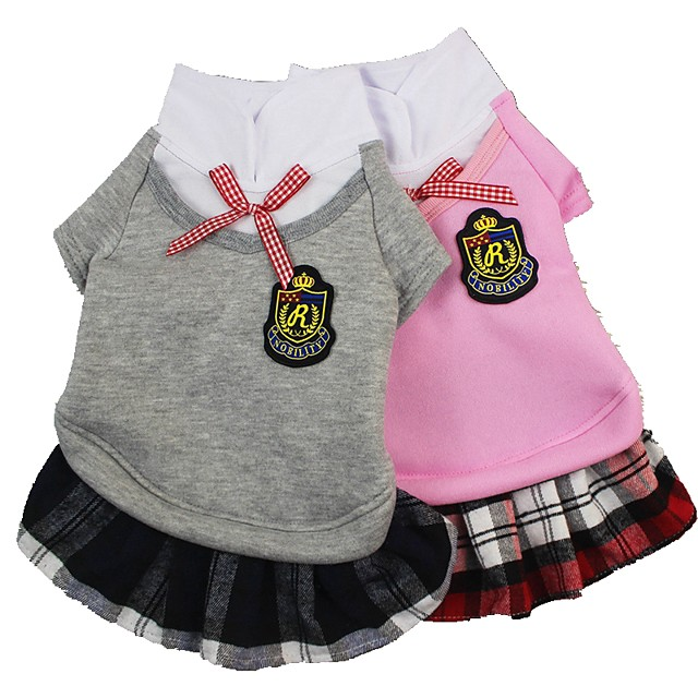 Dog Cat Dress Cute Dog Clothes Puppy Clothes Dog Outfits Pink Gray Costume for Girl and Boy Dog Polyester XS S M L XL
