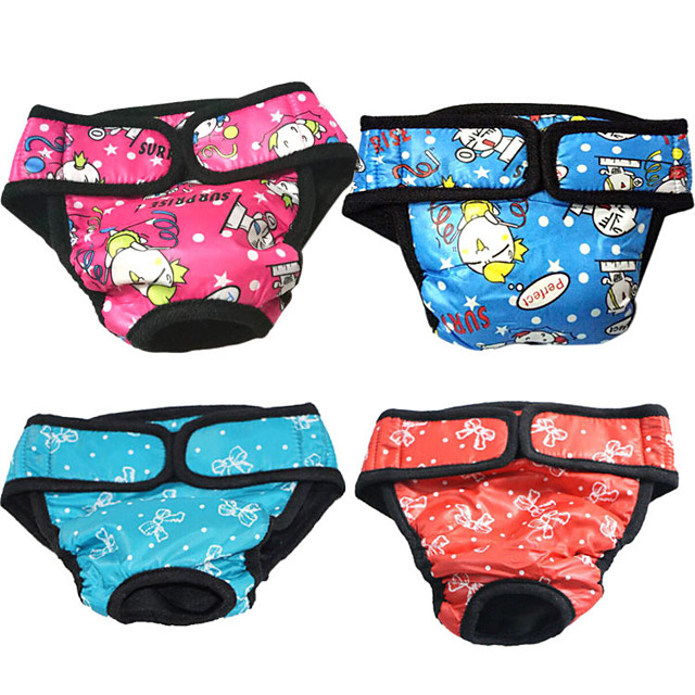3pcs female dog sanitary diaper puppy period panties small dog physiological pants pet menstruation underwear - size s