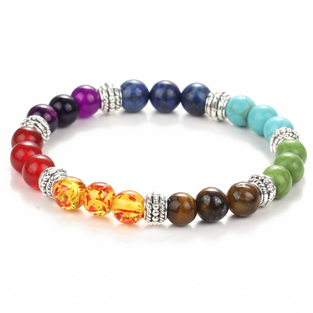Black Lava Bead Bracelet Beaded Beads Chakra Rainbow Colorful Fashion Yoga Healing Synthetic Gemstones Bracelet Jewelry Green For Christmas Gifts Casual Daily Sports