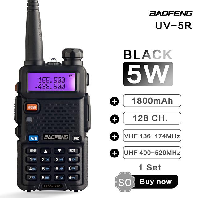 BAOFENG UV-5R 5KM-10KM 1800mAh 5W Walkie Talkie Two Way Radio FM Radio LCD Display with Flash Flight Frequency Range 136-174MHz 400-470MHz