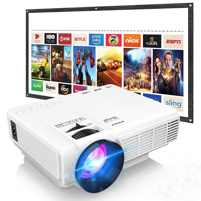 Full HD Supported Upgraded Video Projector Compatible with TV Stick PS4 HDMI USB AV for Home Cinema & Outdoor Movie