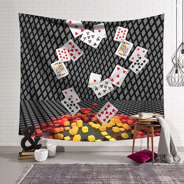 Wall Tapestry Art Decor Blanket Curtain Hanging Home Bedroom Living Room Decoration Polyester Fantasy Poker
