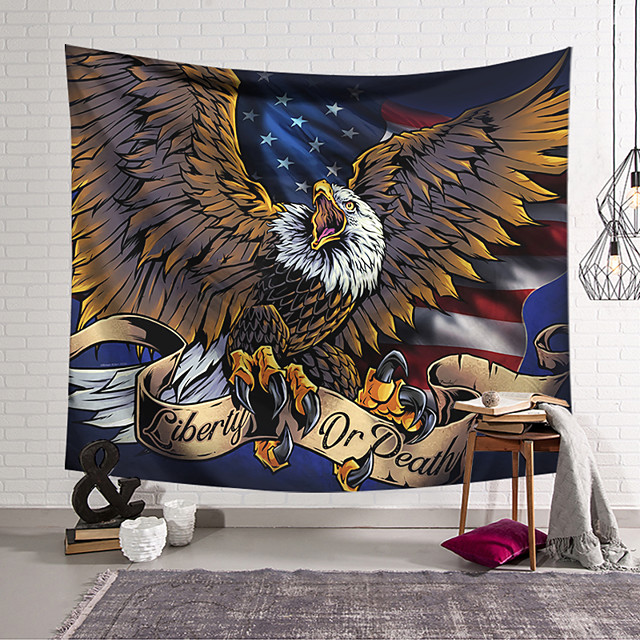 Wall Tapestry Art Decor Blanket Curtain Hanging Home Bedroom Living Room Decoration Polyester Eagle Catch Something American Flag