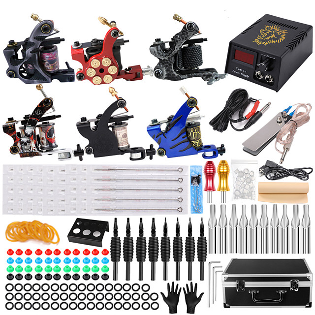 Solong Tattoo Professional Tattoo Kit Tattoo Machine - 6 pcs Tattoo Machines, Safety / Ergonomic Design / Kits Aluminum Alloy 5 W Coil Tattoo Machine