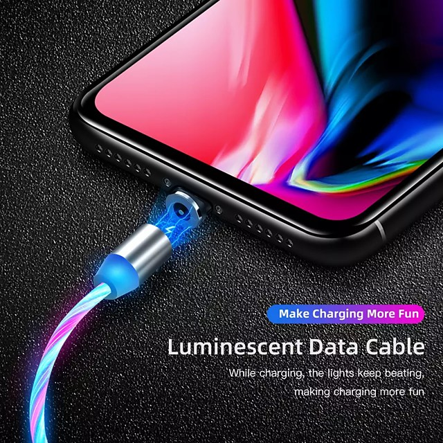 2A Magnetic Charging Mobile Phone Cable USB Type C Flow Luminous Lighting Data Wire For Samsung Huawei LED Micro Cable