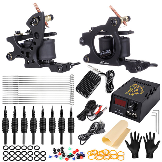 Solong Tattoo Professional Tattoo Kit Tattoo Machine - 2 pcs Tattoo Machines, Safety / Ergonomic Design / Classic Alloy 5 W Coil Tattoo Machine / Case Included
