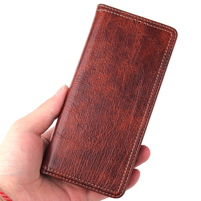 Phone Case For Samsung Full Body Case Leather Wallet Card S20 S20 Plus S20 ultra S10 S10 + S10e Wallet Shockproof Magnetic Wood Grain Solid Colored PU Leather TPU