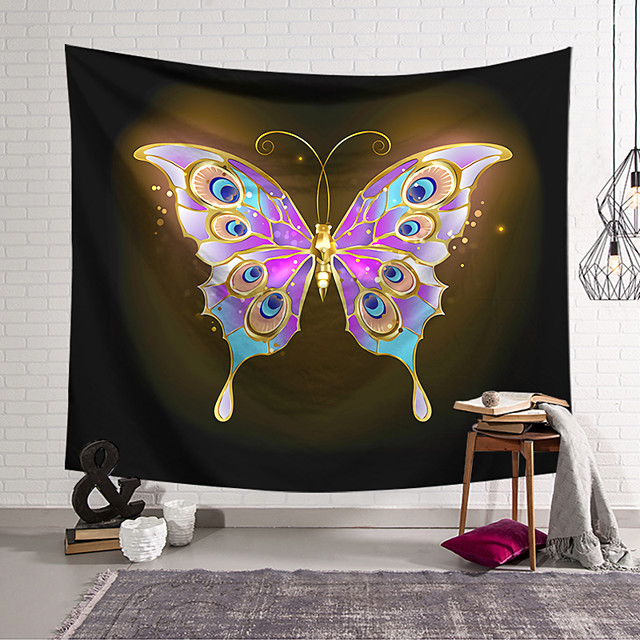 Wall Tapestry Art Decor Blanket Curtain Hanging Home Bedroom Living Room Decoration Polyester Purple Gold Butterfly