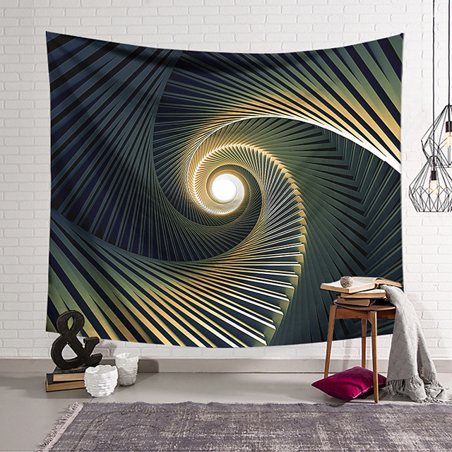 Wall Tapestry Art Decor Blanket Curtain Hanging Home Bedroom Living Room Decoration Polyester Black Ladder Rotation