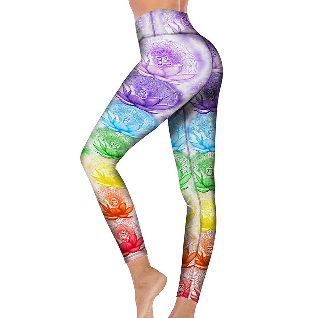 21Grams Women's High Waist Yoga Pants Cropped Leggings Tummy Control Butt Lift Breathable Purple Fitness Gym Workout Running Winter Sports Activewear High Elasticity