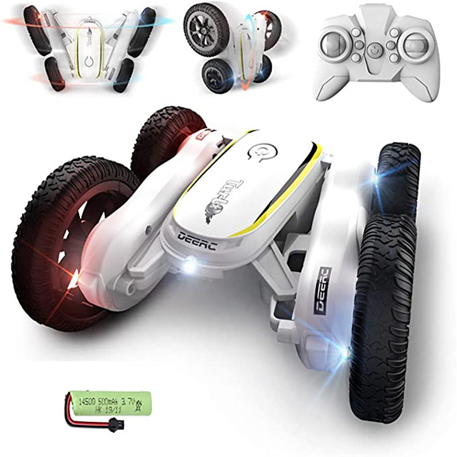RC Stunt Cars Remote Control Car Toys for Kids, Demo Mode Music & Led Lights Control, 4WD Double Sided Fancy Rotating 360° Flips Vehicles, 2 Batteries for 50 Min Play, Toy Gifts for Boys & Girls
