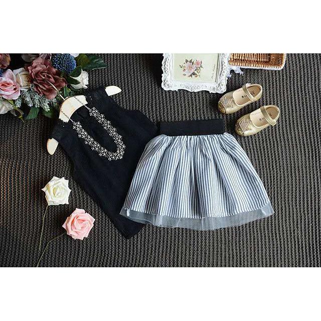 Kids Little Girls' Dress Striped Print Black Knee-length Sleeveless Cute Dresses Regular Fit