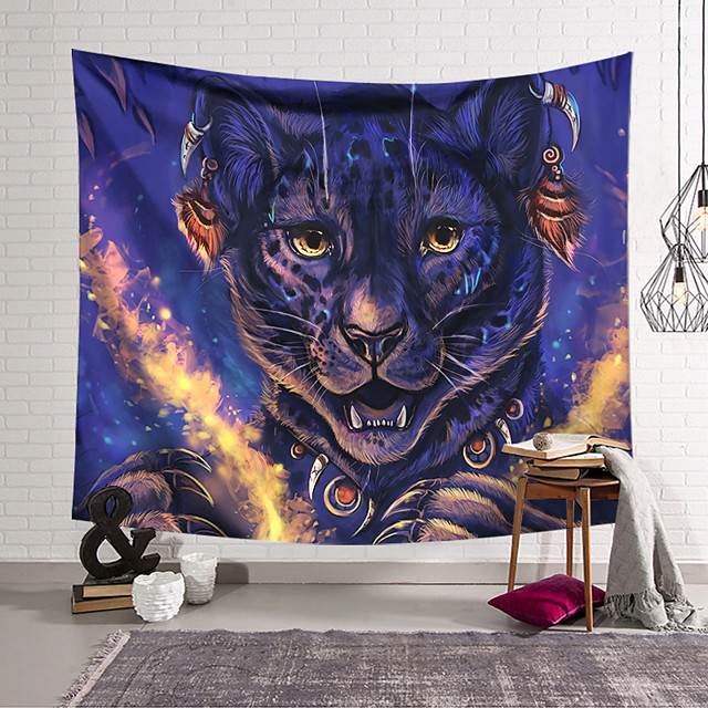 Wall Tapestry Art Decor Blanket Curtain Hanging Home Bedroom Living Room Decoration Polyester Cute Tiger