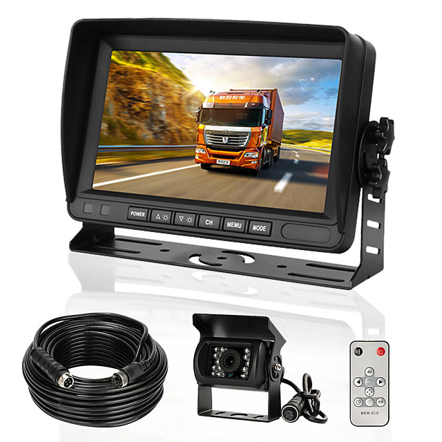 Rear View Camera Kit with 7 LCD Monitor & 120 Wide Angle Rearview Camera IP68 Waterproof 18IR Night Vision Reversing Camera for Truck Trailer Bus Van Agriculture Heavy Transport (9-32V)