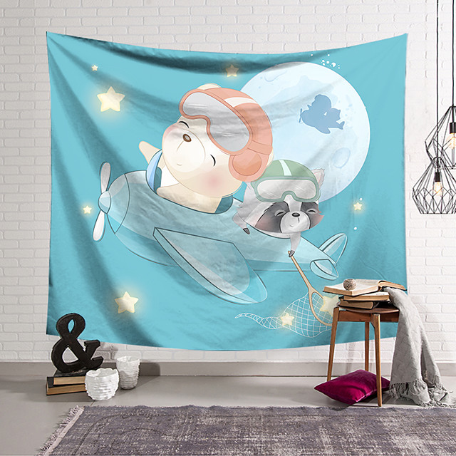 Wall Tapestry Art Decor Blanket Curtain Hanging Home Bedroom Living Room Decoration Polyester Little Bear Flying