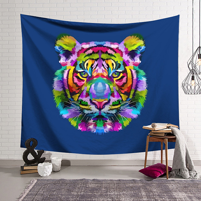 Wall Tapestry Art Decor Blanket Curtain Hanging Home Bedroom Living Room Decoration Polyester Tiger Head Color