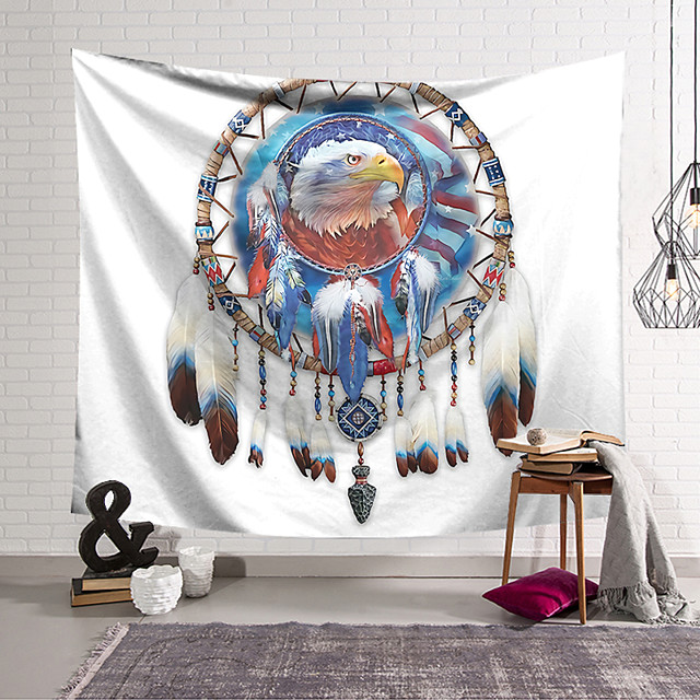 Wall Tapestry Art Decor Blanket Curtain Hanging Home Bedroom Living Room Decoration Polyester Dream Catcher Eagle Head
