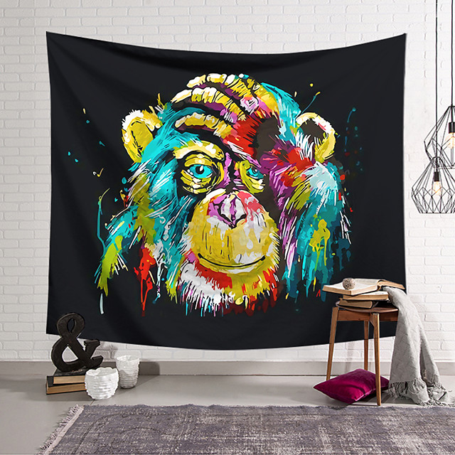 Wall Tapestry Art Decor Blanket Curtain Hanging Home Bedroom Living Room Decoration Polyester Colorful Monkey Covering Face