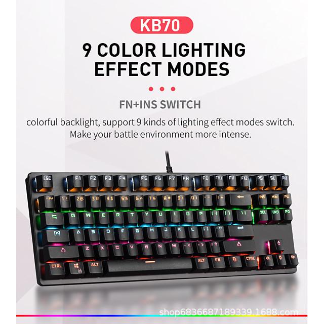 LITBest K870 USB Wired Mechanical Keyboard Gaming Keyboard Gaming Waterproof Multicolor Backlit 87 pcs Keys