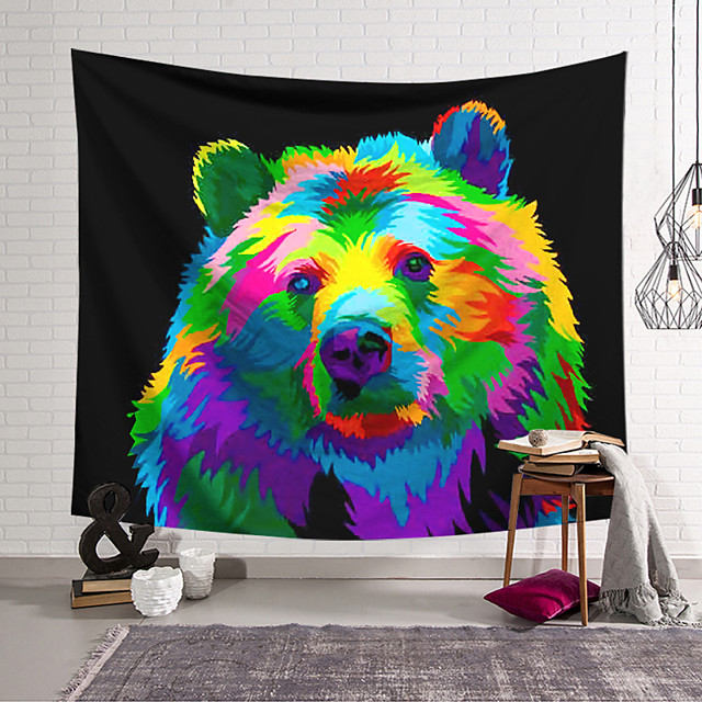 Wall Tapestry Art Decor Blanket Curtain Hanging Home Bedroom Living Room Decoration Polyester Color Brown Bear