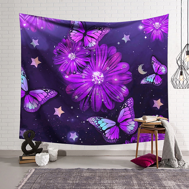 Wall Tapestry Art Decor Blanket Curtain Hanging Home Bedroom Living Room Decoration Polyester Purple Butterfly Purple Flowers